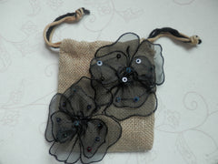 Black Organza Flowers  Burlap Bag
