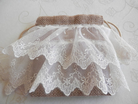 Victorian Morning Eco Friendly White/Ivory Lace Organic Burlap Bag/Wristlet