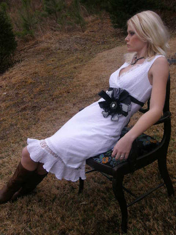 Black and White Dress Sash Wedding or Special Occasion
