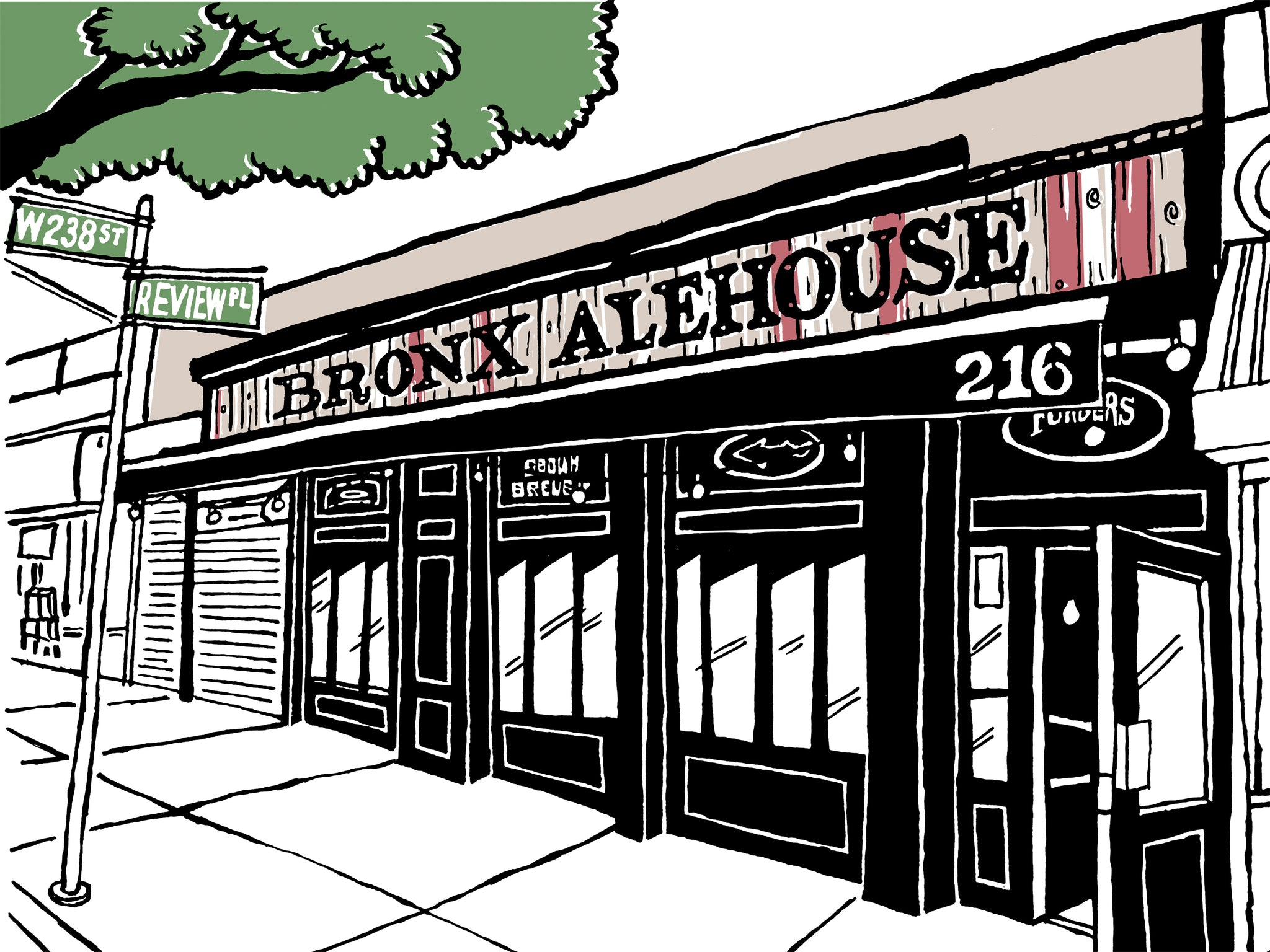 bronx alehouse nyc art by john tebeau