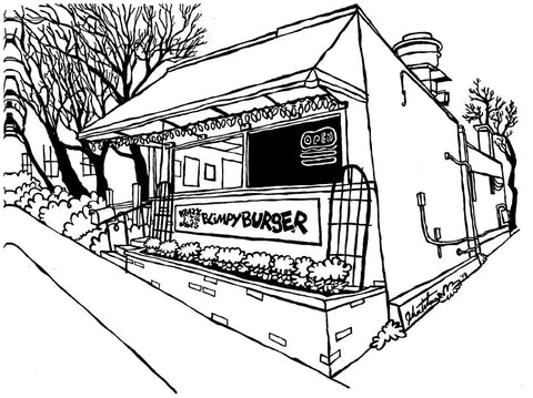The Original Krazy Jim's Blimpy Burger of Ann Arbor Michigan: Original Art (pen and ink on paper)