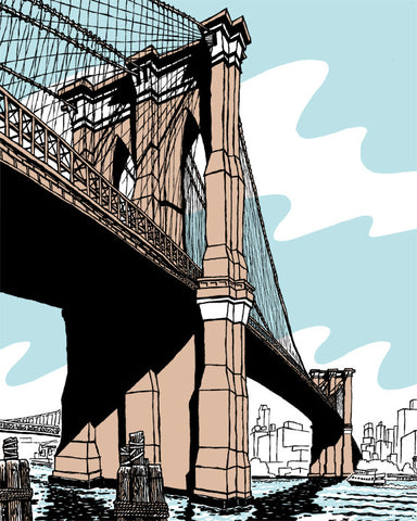 "The Brooklyn Bridge (as seen from Manhattan), a fine 8"" by 10"" print"