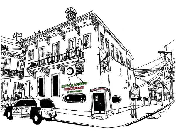 Buffa's Lounge bar of New Orleans signed prints
