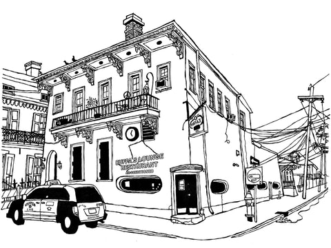Buffa's Lounge of New Orleans, original New Orleans art in pen and ink