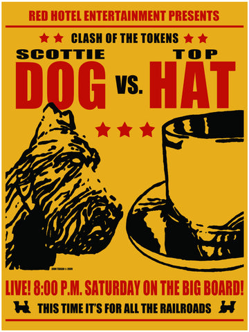 """Scottie Dog vs. Top Hat"" board game signed print"