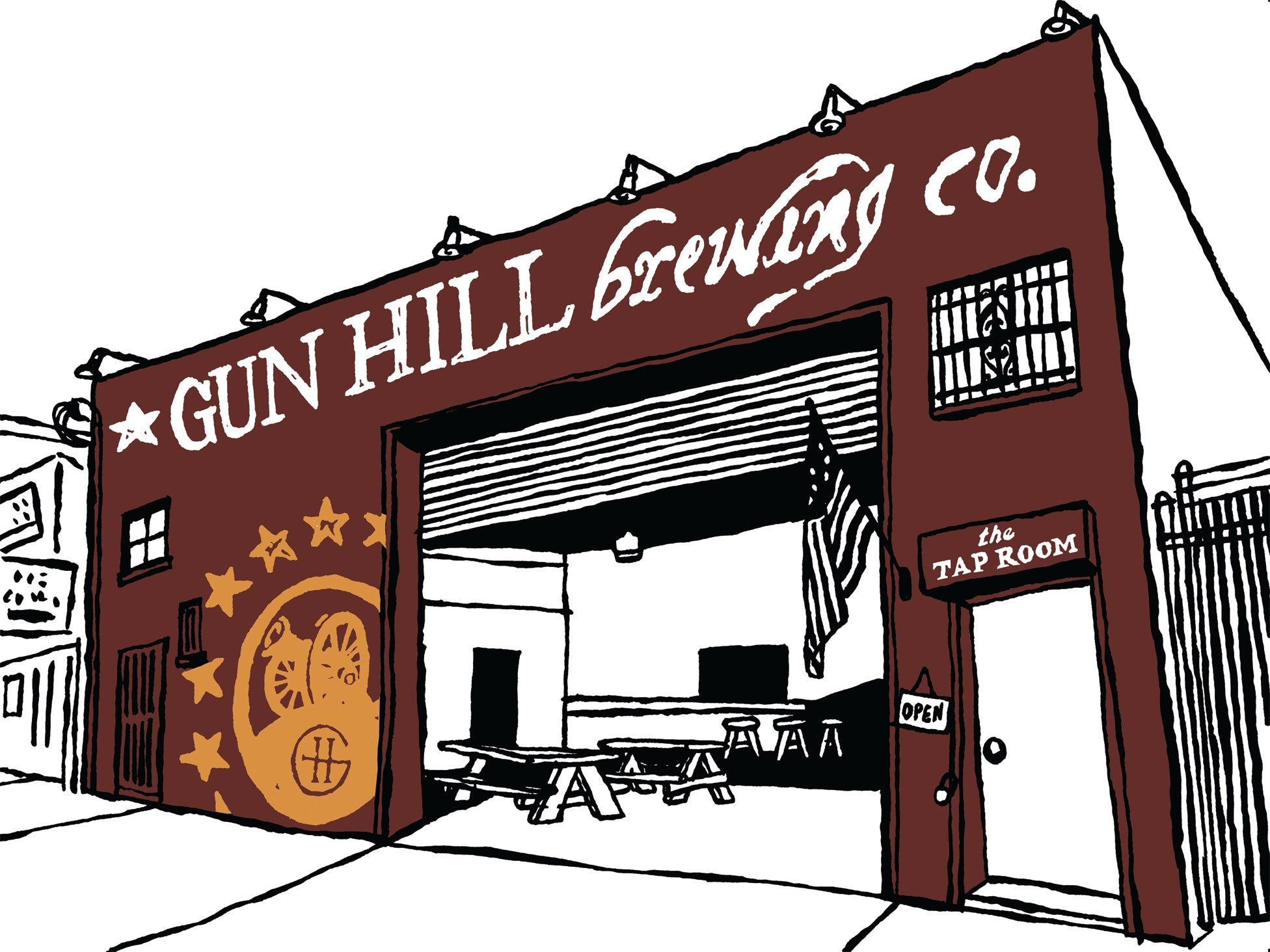 gun hill brewing co. bronx nyc art by john tebeau