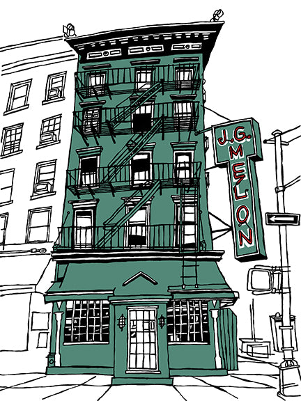 J.G. Melon of New York's Upper East Side, signed art prints