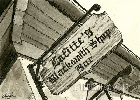 Lafitte's Blacksmith Shop in New Orleans, signed print of an original painting