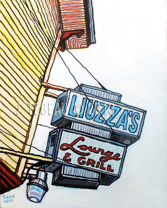 liuzza's bar of New Orleans, original painting by John Tebeau of Brooklyn, NY