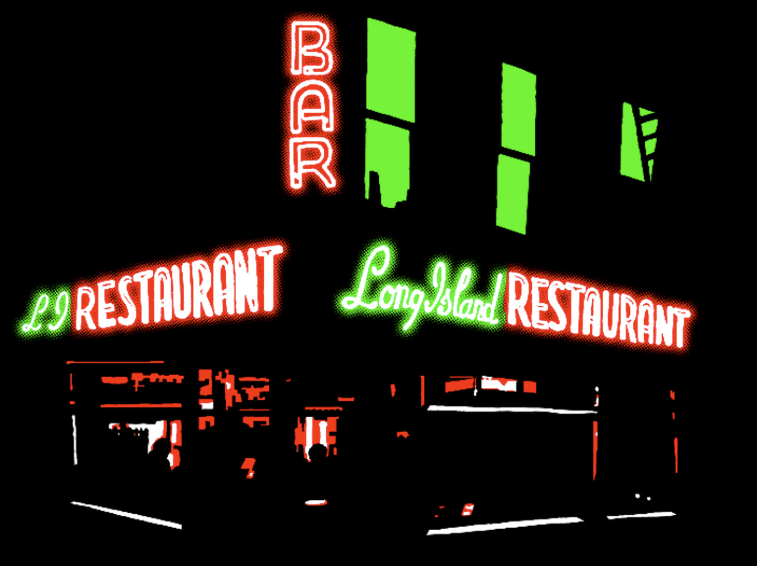 long island bar brooklyn nyc art print john tebeau