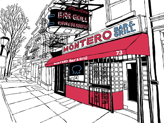Montero's bar brooklyn nyc art print john tebeau