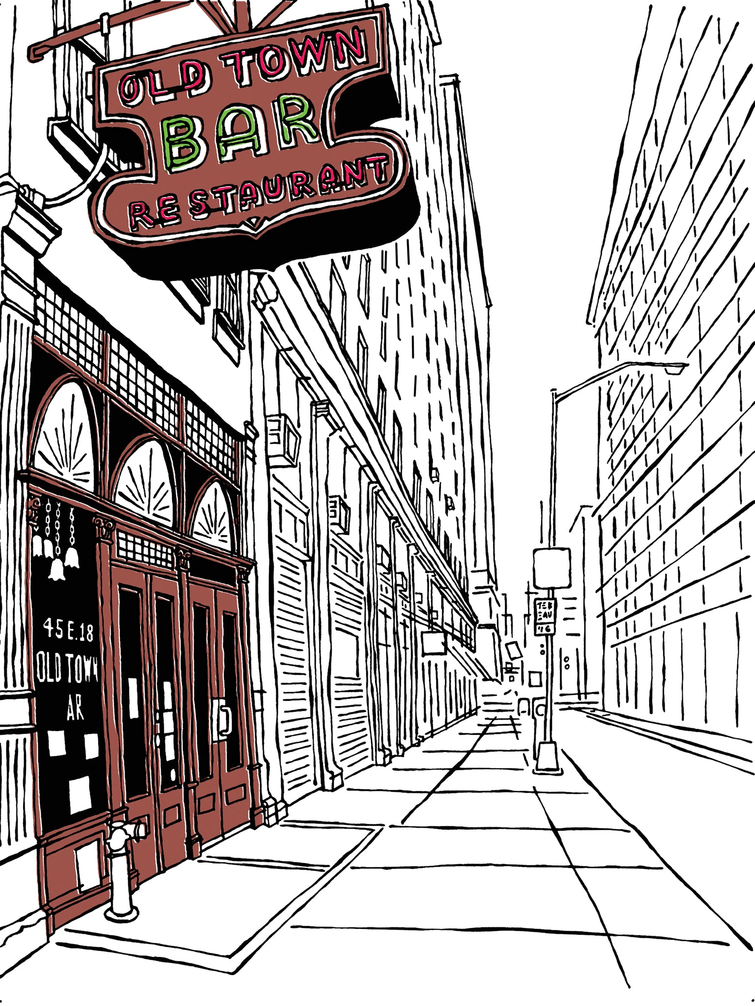 old town bar new york art by john tebeau