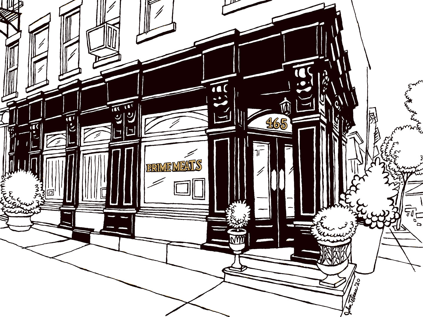 Prime Meats Brooklyn art by John Tebeau © 2020