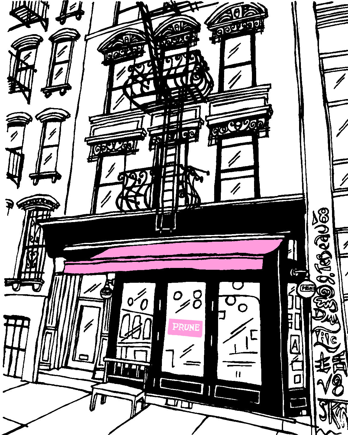 Prune restaurant of New York City signed prints. (ships free in the US)