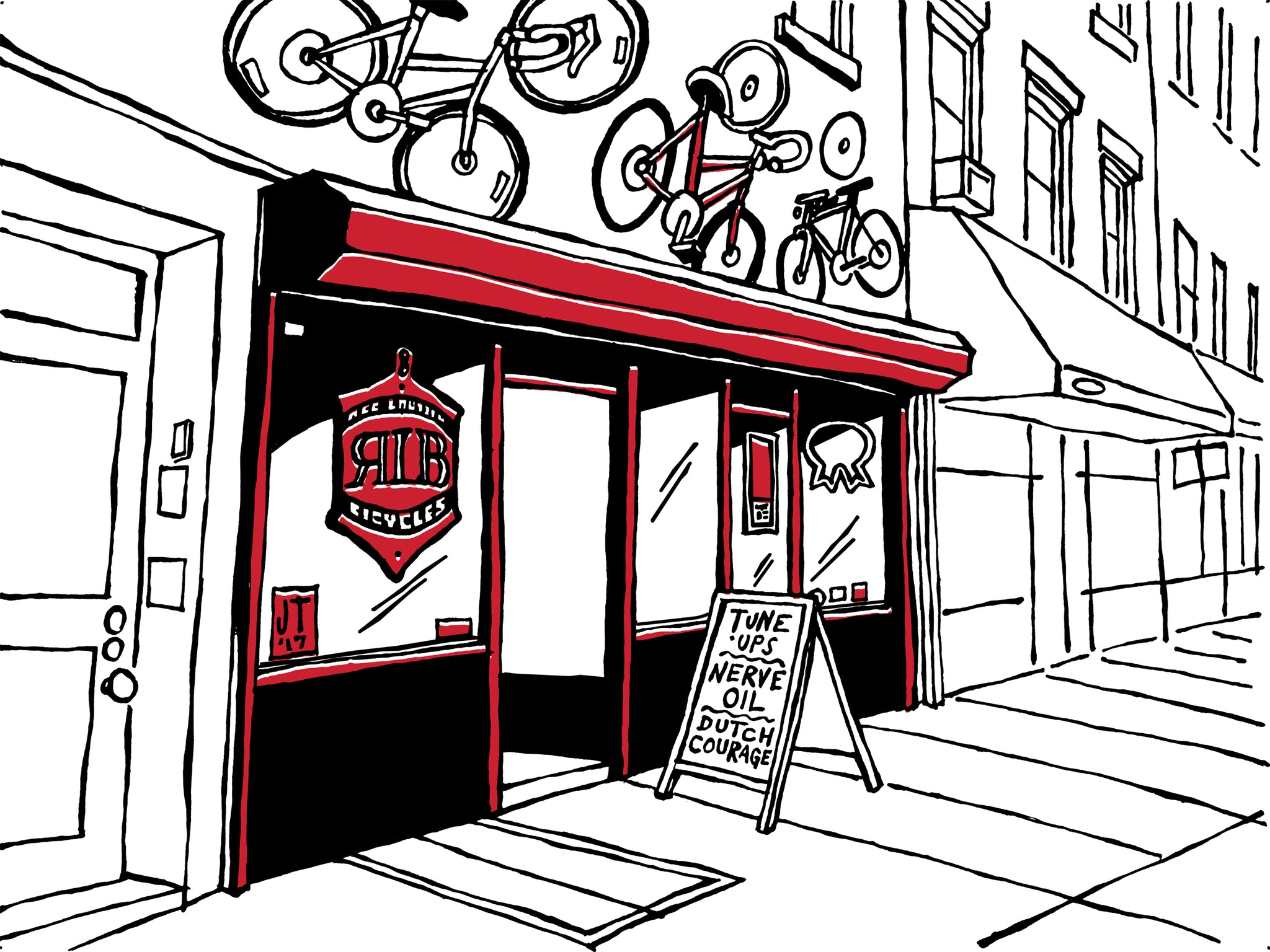red lantern bicycles brooklyn nyc art by john tebeau