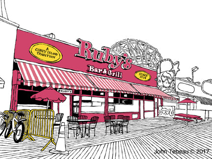 ruby's bar and grill coney island nyc art by john tebeau