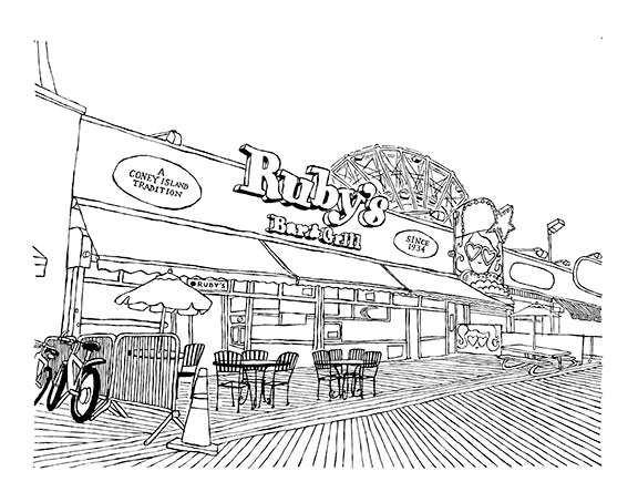 ruby's bar and grill coney island nyc original art by john tebeau
