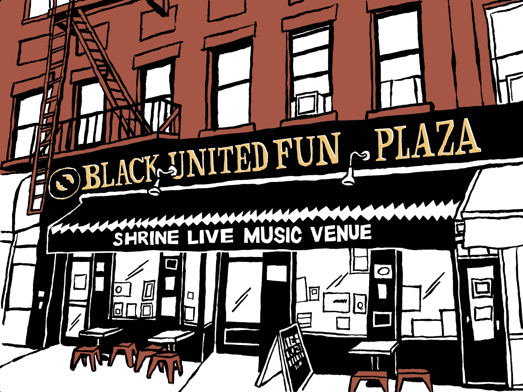 shrine world music venue harlem nyc art by john tebeau