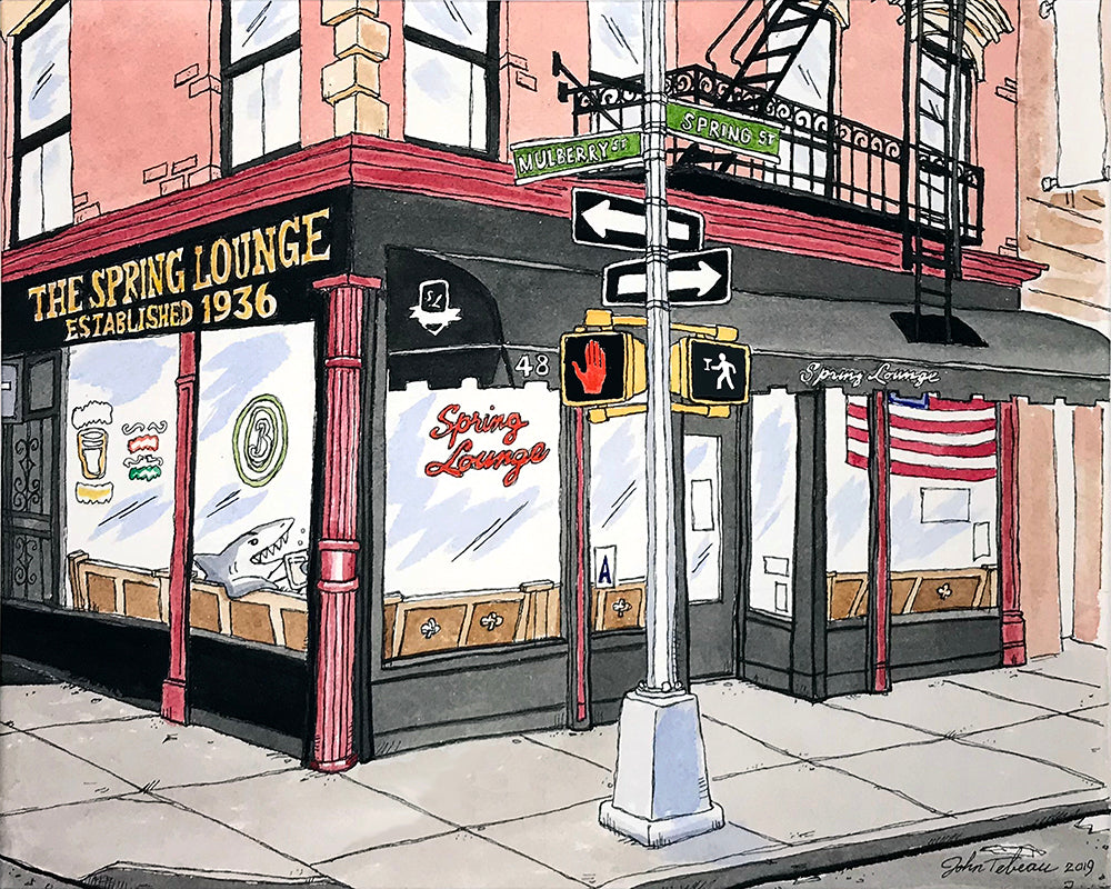 The Spring Lounge Bar of Manhattan, New York signed prints. (ships free in the US)