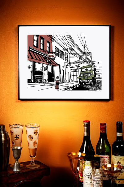 sunny's bar red hook brooklyn nyc art by john tebeau