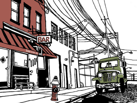Sunny's Bar of Red Hook Brooklyn: Limited Edition 3-Color Silkscreen Print by John Tebeau