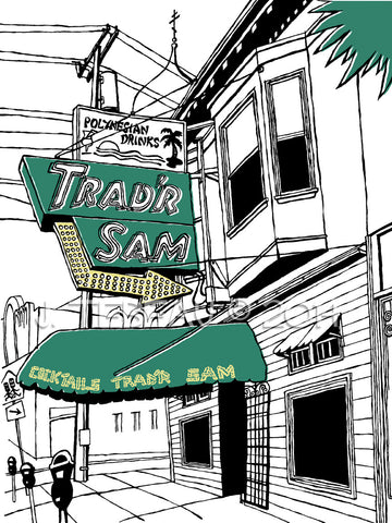 Trad'r Sam's Tiki Bar of San Francisco, a limited-edition, singed print of a Great Good Place by John Tebeau