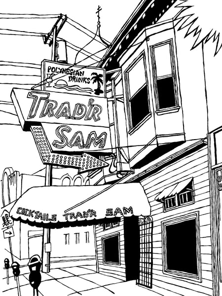 Trad'r Sam Tiki Bar of San Francisco, Original Art (ink on paper)