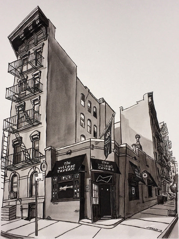 The Village Tavern in Manhattan, New York signed art prints by John Tebeau. (ships free in the US)