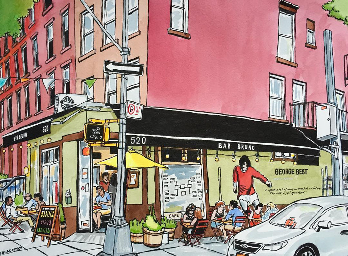 Bar Bruno of Brooklyn, New York: signed prints by John Tebeau. (ships free in the US)