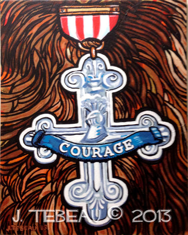 """Courage,"" painting based on the Cowardly Lion's medal from The Wizard of Oz. Acrylic on canvas, framed."
