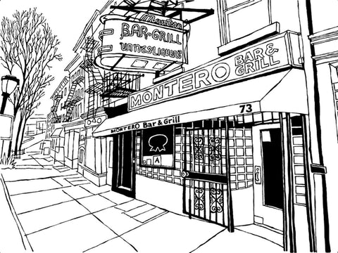 Montero's Bar of Brooklyn: Framed Original Art (pen and ink on paper)