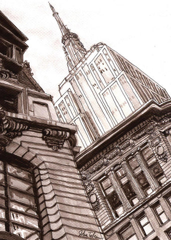 Empire State Building art print signed by artist John Tebeau
