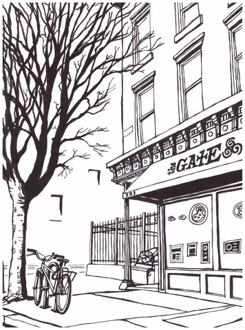 The Gate Bar of Brooklyn: Original Art (pen and ink on paper)