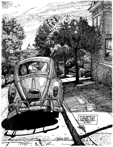 Vintage Volkswagen Beetle from San Francisco, signed print