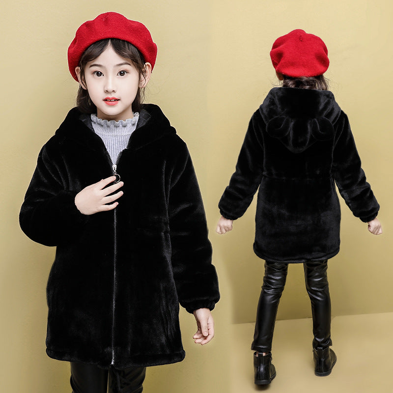 Girls winter coat 2020 new Korean version of the influx of Western style children's imitation mink cashmere coat thick winter children's clothing tide - Marka Vip Online - ماركة