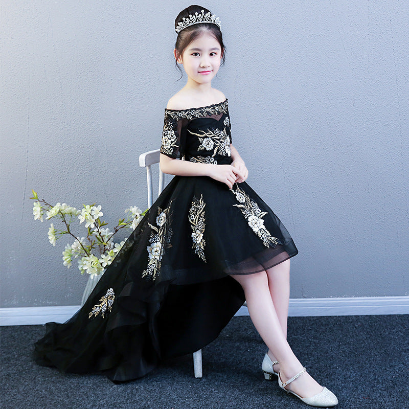Black yarn Pompon princess dress costumes girls show children dress trailing moderator catwalk models summer - Marka Vip Online - ماركة