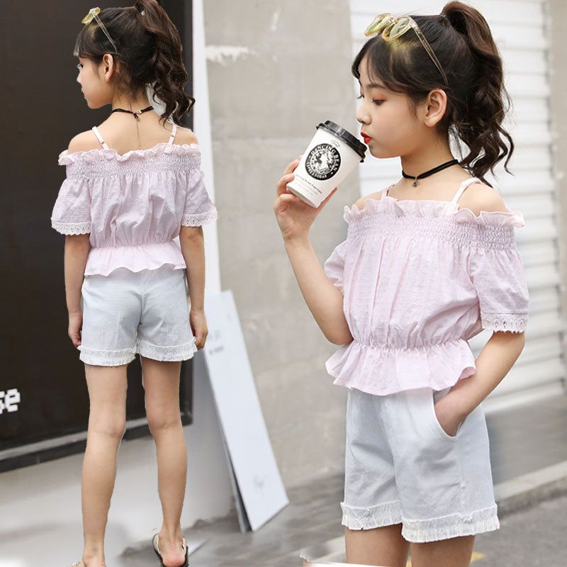 Girls summer 2020 new stylish short-sleeved shorts suit large influx of children across borders Western style two-piece summer clothing - Marka Vip Online - ماركة