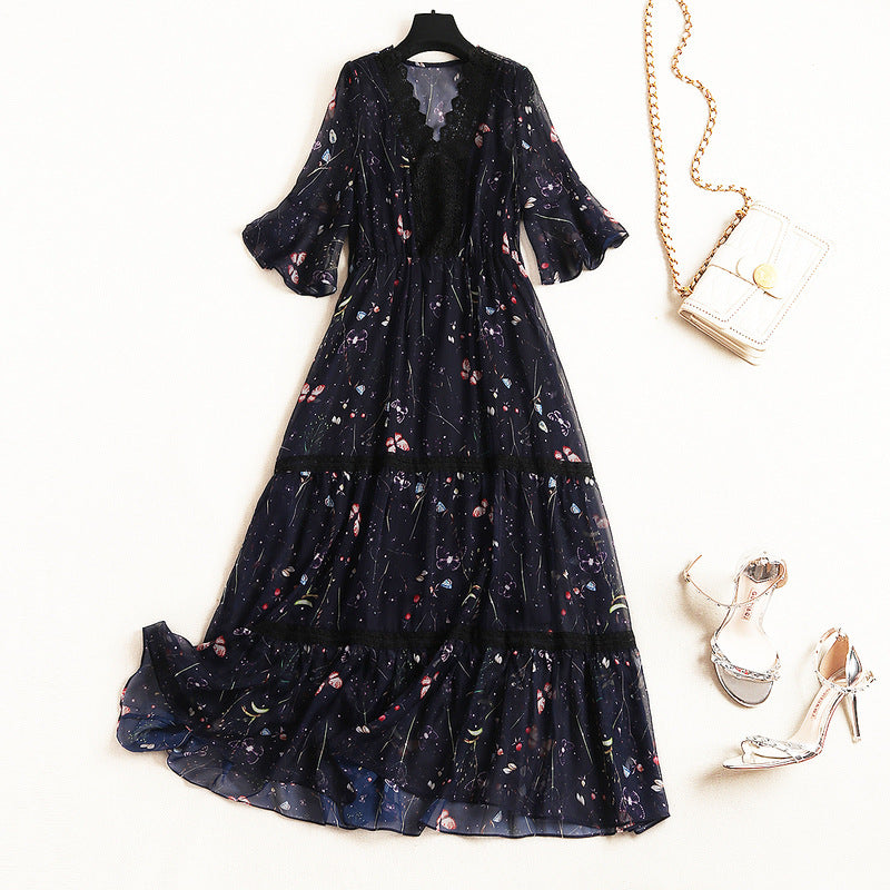 2020 summer women lace flounced V-neck fifth sleeve pullover elastic waist print chiffon dress 11091 - Marka Vip Online - ماركة