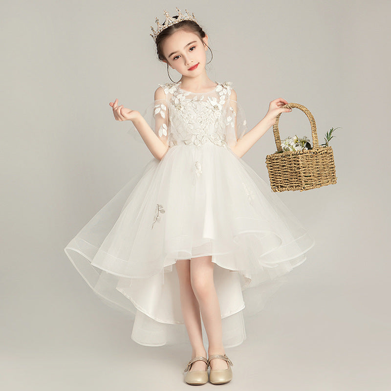 Western style girls dress children skirt small host birthday princess dress flower girl Pompon yarn catwalk costumes - Marka Vip Online - ماركة