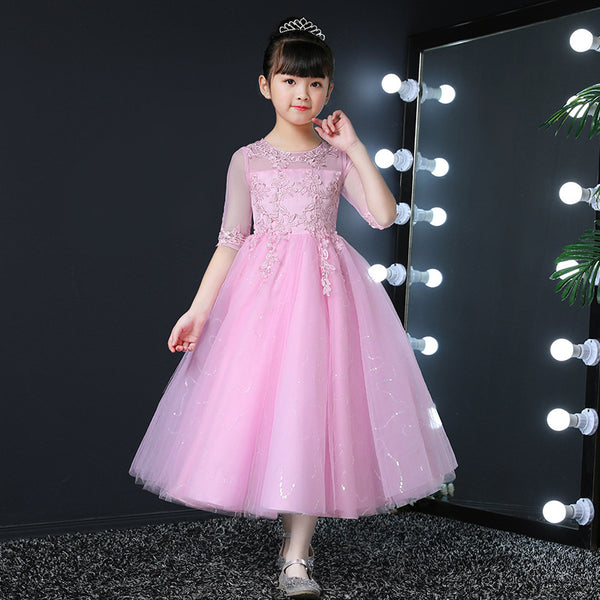 Girls Dress piano performance clothing small host evening dress tutu skirt yarn in the 3-15 year-old children's clothing - Marka Vip Online - ماركة