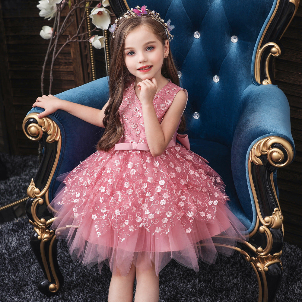 Cross-border specifically for infants and young children flower girl dress children sleeveless lace veil Pompon princess dress performance dress BABY - Marka Vip Online - ماركة