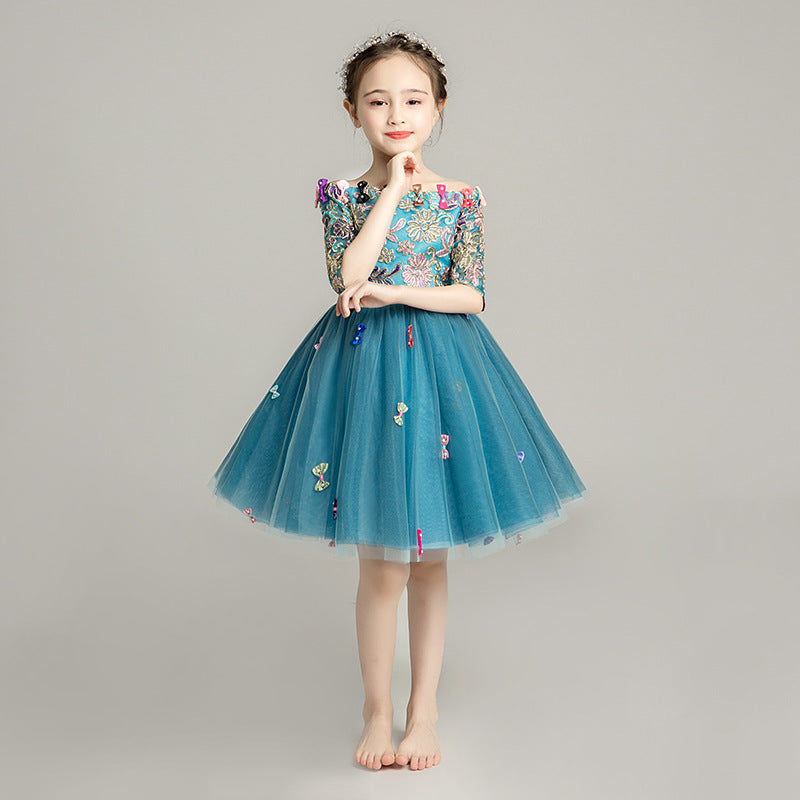 Girls catwalk dress wedding dress girls birthday princess dress tutu costumes for children piano host yarn - Marka Vip Online - ماركة