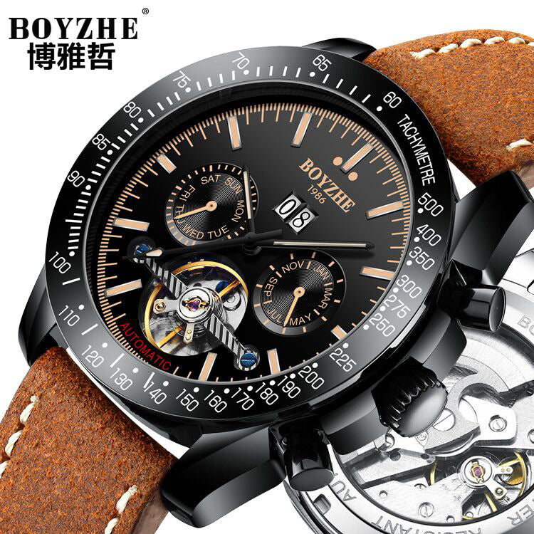 BOYZHE / Bo Yazhe brand automatic mechanical watch calendar watch leather bucket sonic boom Mens Watch - Marka Vip Online - ماركة
