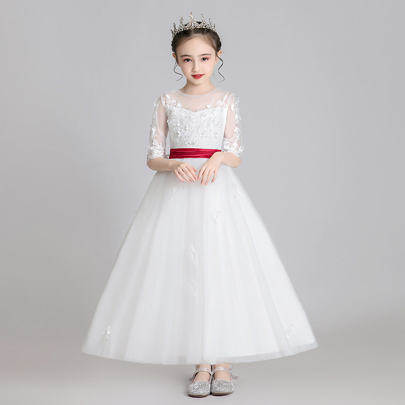 Pompon yarn princess dress girls autumn and winter flower girl dress Western style high-end model serves piano little girl costumes - Marka Vip Online - ماركة