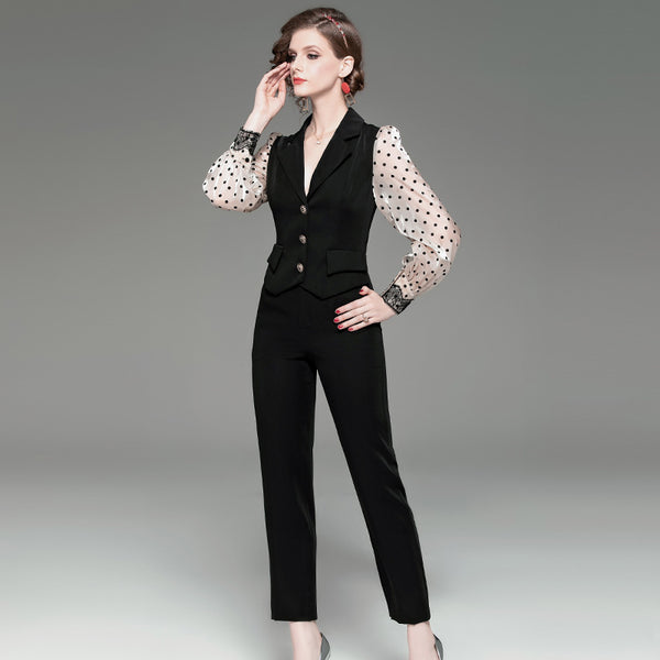 2020 spring new OL temperament piece pants Polka Dot feet long sleeve small suit stitching jumpsuit female K011 - Marka Vip Online - ماركة