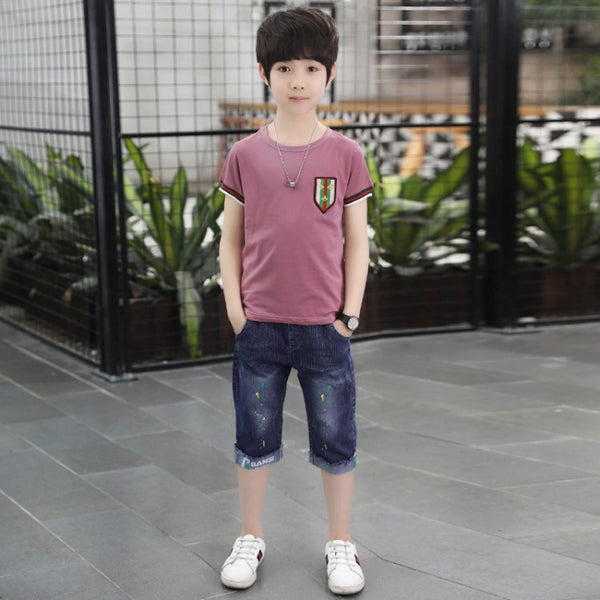 2020 new boys cotton short-sleeved T-shirt suit children's summer models denim shorts sleeve T-piece big virgin wholesale - Marka Vip Online - ماركة