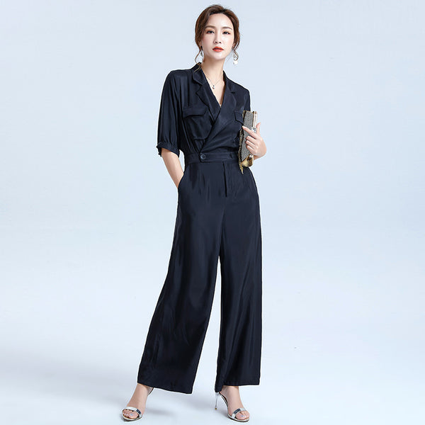 2020 summer new solid color suit collar Sleeve loose even body pants waist wide leg pants buttons wind commuter female - Marka Vip Online - ماركة