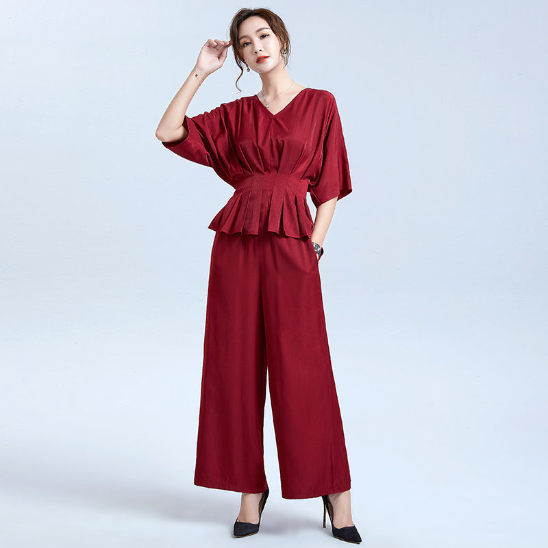 2020 summer new women fifth sleeve V-neck pressure pleated trousers leisure suit two-piece wide leg pants loose solid color - Marka Vip Online - ماركة