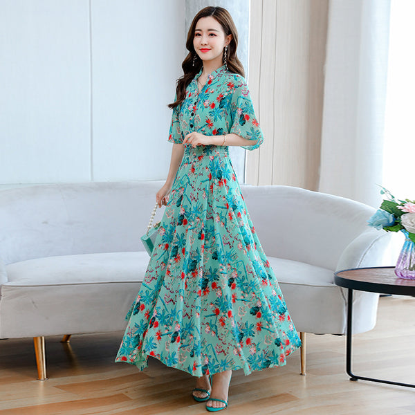 2020 summer new loose thin waist floral print V-neck chiffon dress put on a large waist dress women