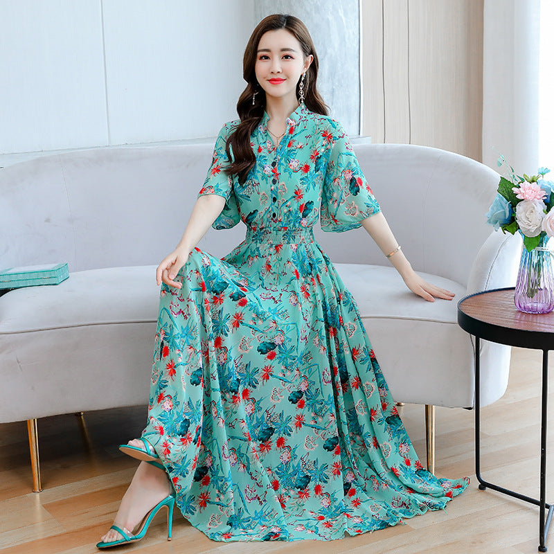 2020 summer new loose thin waist floral print V-neck chiffon dress put on a large waist dress women - Marka Vip Online - ماركة